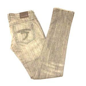 Frankie B. Gray skinny jeans w/ studs